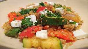 Bulgur veg and feta salad